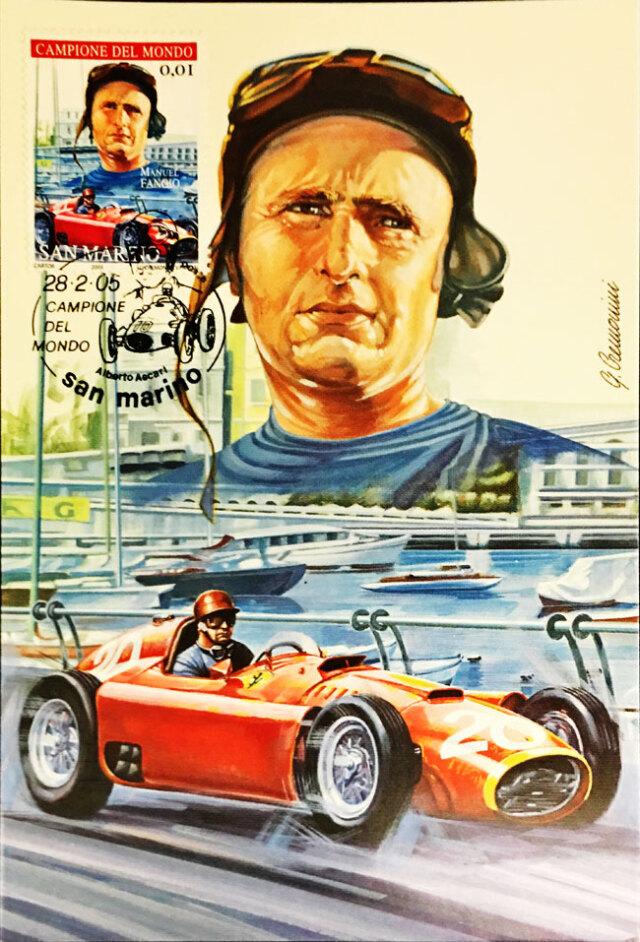 フェラーリ(FERRARI F1)-D50 J.M.ファンジオ スタンプ付き50枚限定ポストカード