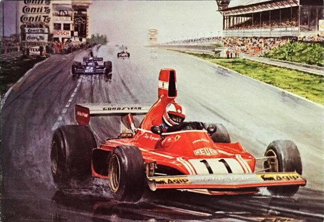 C.レガツォーニ フェラーリ 1975年ドイツGP アートポストカード