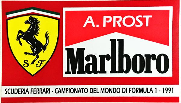 A.プロスト FERRARI MARLBORO(フェラーリ マルボロ) 1991 ステッカー