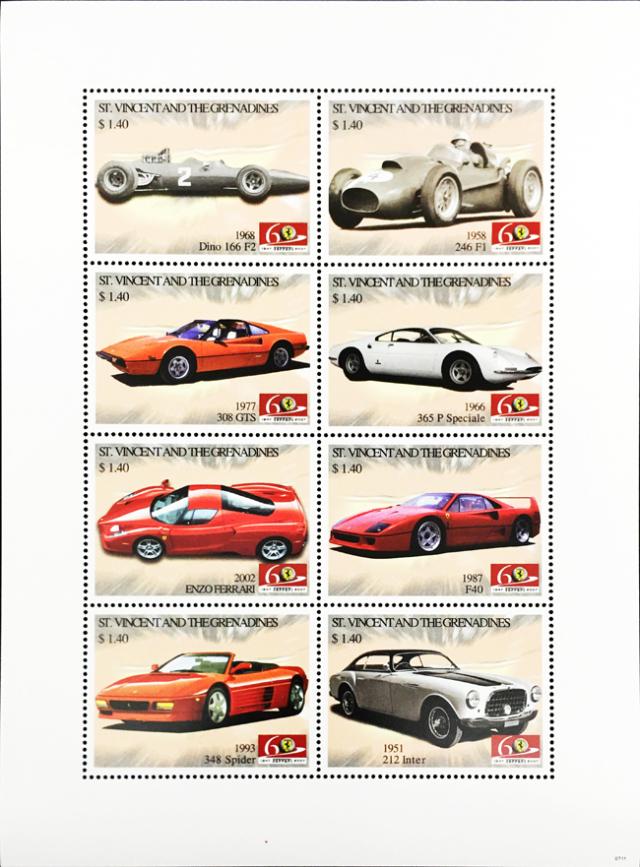 フェラーリ 60周年記念 切手シート(C) (セントビンセント共和国発行)