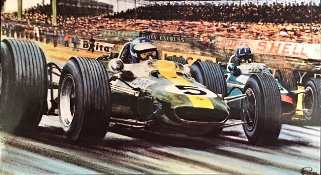 ジム・クラーク 1965 チームロータス33 イギリスGP アラン・プレス アートポストカード