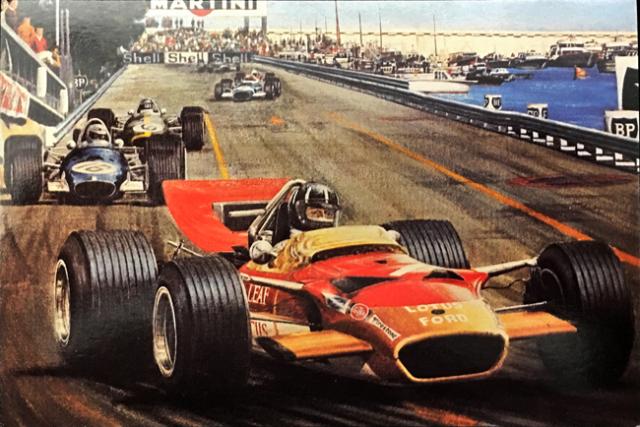 グラハム・ヒル1969 チームロータス49 モナコGP  アラン・プレス アートポストカード