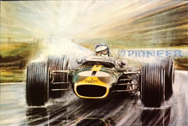 ジム・クラーク 1966 チームロータス49  アラン・プレス アートポストカード
