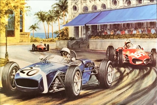 スターリング・モス 1961 ロータスクライマックス モナコGP アラン・プレス アートポストカード