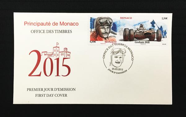 モナコ政府 2014年発行 グラハム・ヒル,追悼記念切手 初日カバー(FDC)