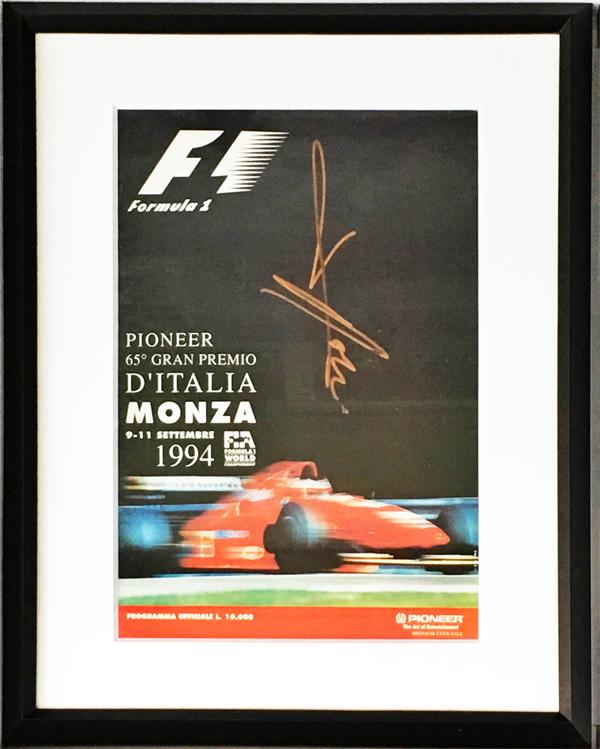 【オートグラフフェアー対象】J.アレジ 直筆サイン入 1994年F1イタリアGP公式プログラム (額装品)