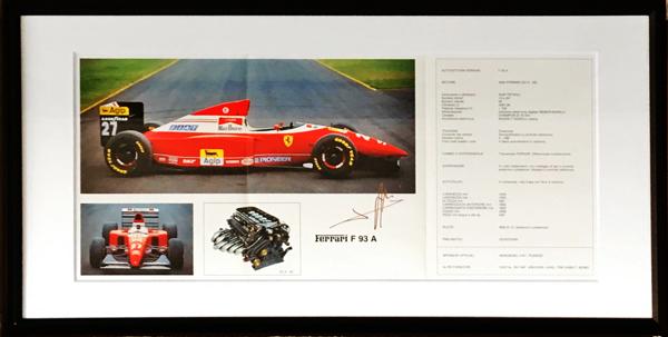 【オートグラフフェアー対象】J.アレジ 直筆サイン入 フェラーリ 1993年 F93A F1マシンスペックカタログ(額装品)