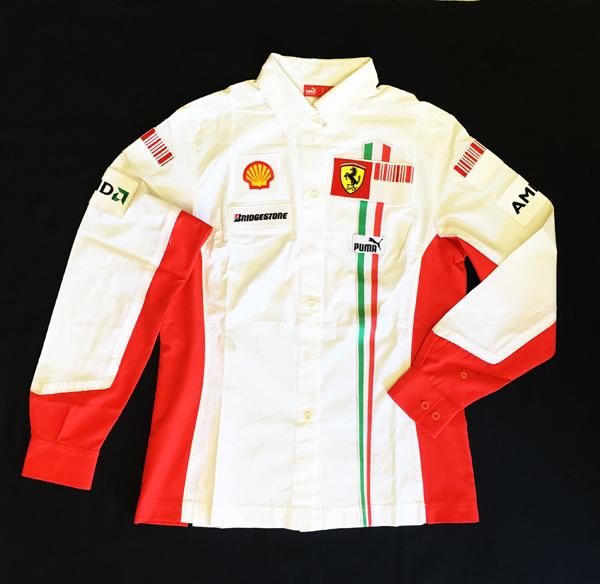2007年 フェラーリ FERRARI F1チーム支給品 女性スタッフ用チーム ピットシャツ 長袖 ノンタバコ レディースサイズL ほぼ新品