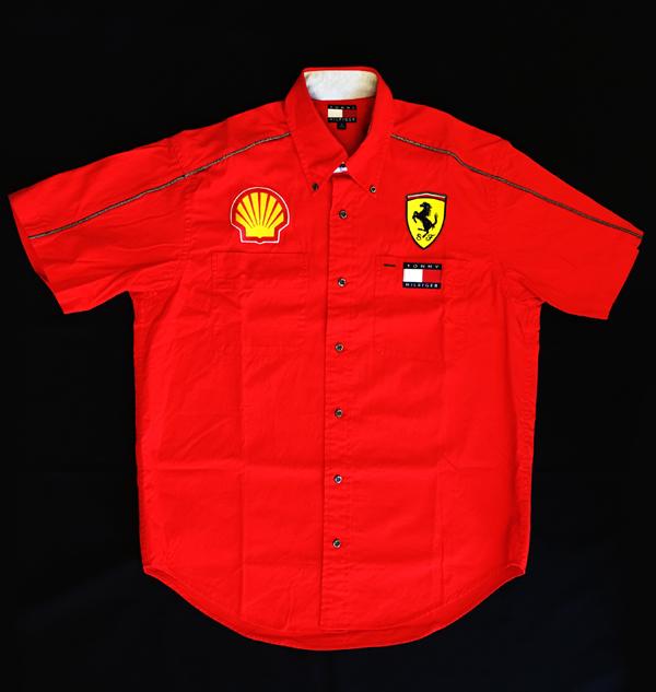 フェラーリ FERRARI 2000年 F1フェラーリ シェルスタッフ支給品  ピットシャツ 半袖 サイズS(日本サイズM) USED