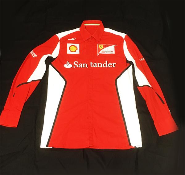 【訳ありSALE】 2012年 フェラーリ FERRARI F1チーム支給品 チーム ピットシャツ 長袖 サイズS(日本サイズM) 新品同様