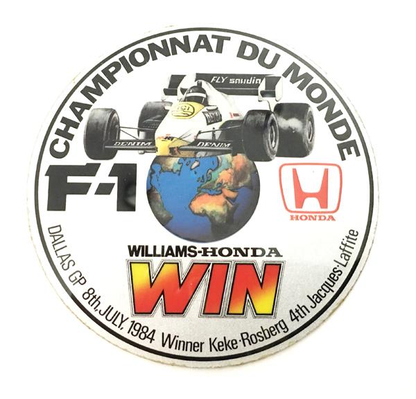 HONDA ホンダ 1984年 ダラスGP  ウィリアムズ・ホンダ ケケ・ロズベルグ優勝 記念ステッカー(A)