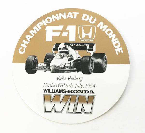 HONDA ホンダ 1984年 ダラスGP  ウィリアムズ・ホンダ ケケ・ロズベルグ優勝 記念ステッカー(B)