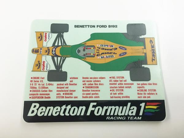 BENETTON (ベネトン)FORD B192 マシンスペックステッカー