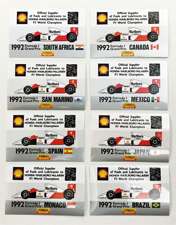シェル(Shell) 1992年 HONDA MARLBORO McLAREN プロモーションステッカー 小(各GP)