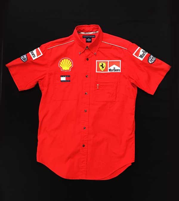 2001年 フェラーリ(FERRARI F1) チーム支給品 PIT(ピット)シャツ TOMMYHILFIGER製 サイズM USED