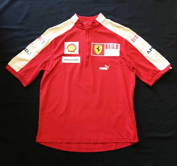 2009 フェラーリ(FERRARI F1) チーム支給品 ZIP Tシャツ サイズM USED