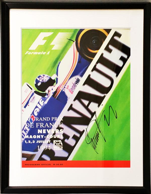 D.ヒル直筆サイン入 F1 1994年フランスGP公式プログラム(額装品)