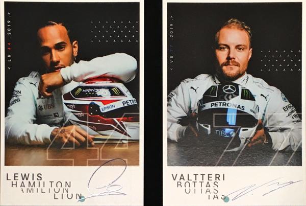 2019 メルセデス ドライバーズカード2枚セット(L.ハミルトン&V.ボッタス)