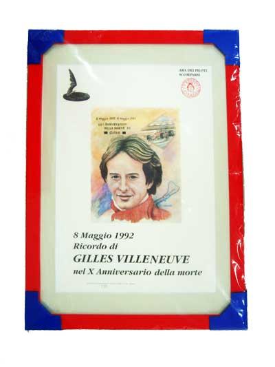 ジル・ビルニューブ 限定ポスター 8 Maggio 1992 Ricordo di GILLES VILLENEUVE