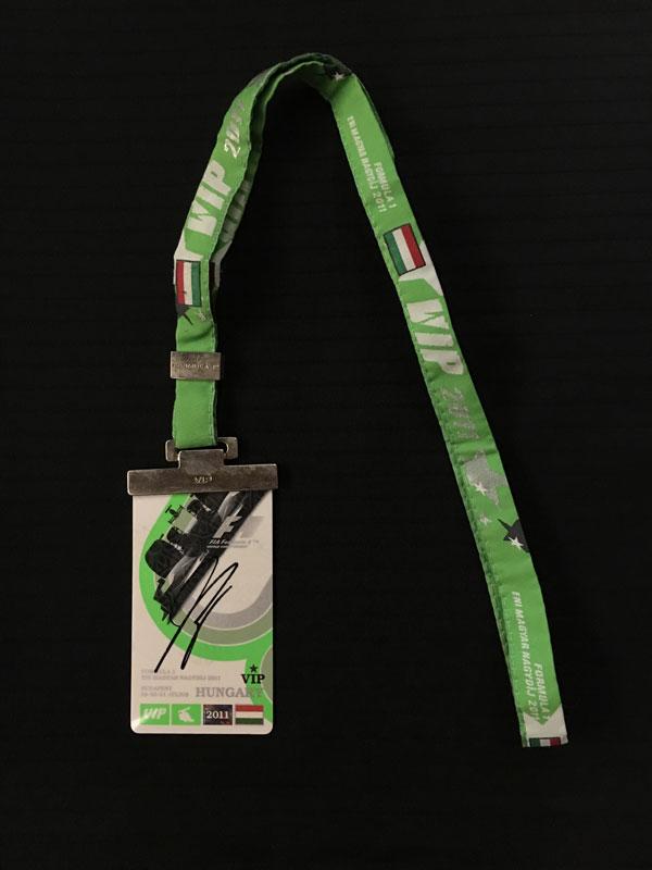 小林可夢偉 直筆サイン入 2011 F1ハンガリーGP パドックパス