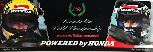HONDA マクラーレン ホンダ 1992 A.セナ&G.ベルガー プロモーションステッカー    ※サイズ: 6cm×19cm
