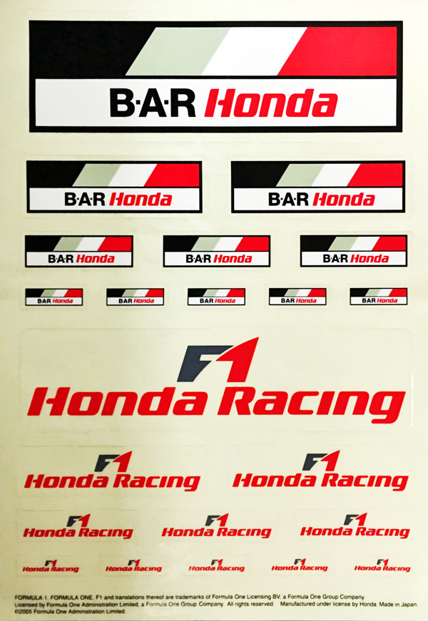 BAR HONDA ホンダ 2005 プロモーションステッカーセット