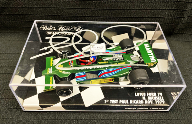 N.マンセル直筆サイン入 ミニチャンプス 1/43 ロータス フォード79 N.マンセル 1979 F1テストドライブ
