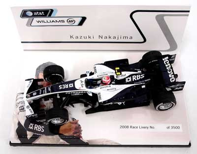 ミニチャンプス 1/43 ウィリアムズ別注 2008ショーカー 中嶋一貴  限定ハイボックス仕様 シリアルナンバー入