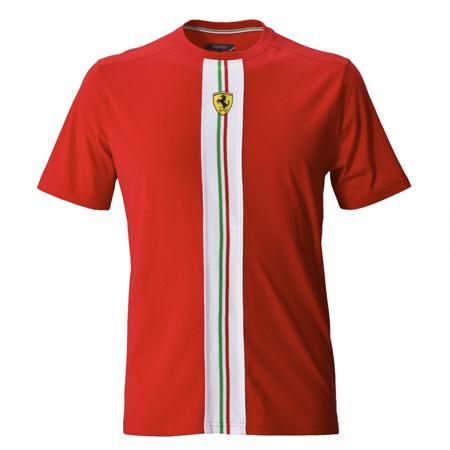 フェラーリストア限定 フェラーリ シールド ホワイトストライプ(チャレンジストラーデ柄)Tシャツ レッド