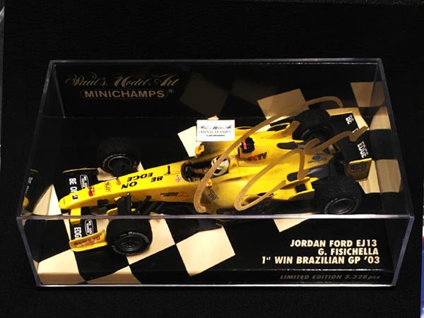 G.フィジケラ直筆サイン入 ミニチャンプス 1/43 ジョーダンEJ13 2003年ブラジルGP初優勝