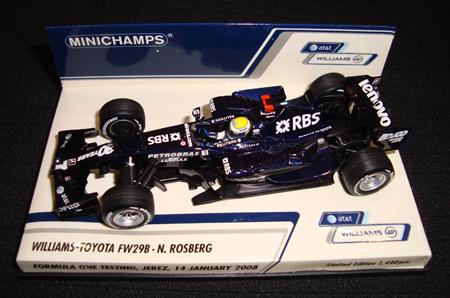 【ミニカーフェア対象】ミニチャンプス 1/43 ウィリアムズ TOYOTA(トヨタ) FW29B N.ロズベルグ ヘレステスト 2008