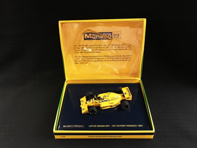 【海外別注】ミニチャンプス 1/43 ロータス ホンダ 99T A.セナ 1987年モナコGP 当店オリジナルタバコロゴモデル