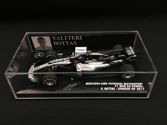V.ボッタス直筆サイン入 ミニチャンプス 1/43 メルセデス W08 2017年スペインGP
