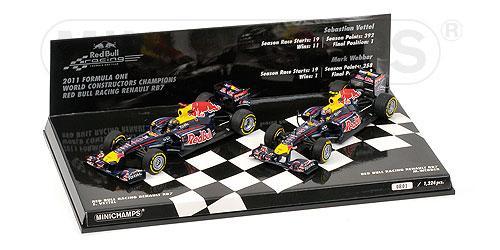 ミニチャンプス 1/43 レッドブル RB7 コンストラクター ワールドチャンピオン 2011 2台セット