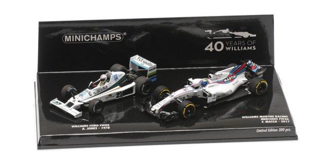 【7/23入荷予定ご予約商品】ミニチャンプス 1/43 ウィリアムズ FW06 A.ジョーンズ 1978 /1/43 ウィリアムズ FW40 F.マッサ 2017  F1 40周年記念 2台セット