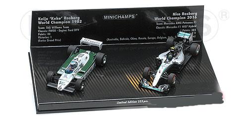ミニチャンプス 1/43 ウィリアムズ フォード FW08 K.ロズベルグ 1982年/メルセデス  W07 N.ロズベルグ 2016年 2台セット