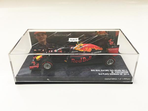 【SALE】M.フェルスタッペン 直筆サイン入 ミニチャンプス 1/43 レッドブル RB12  2016年ドイツGP 3位 ※サインが薄いです