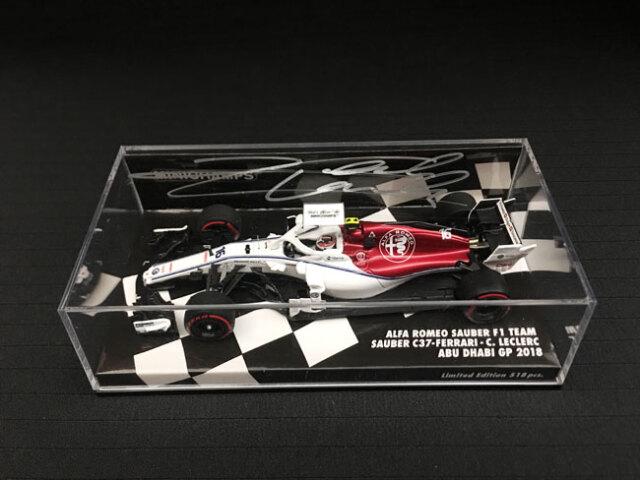 C.ルクレール 直筆サイン入 ミニチャンプス 1/43 アルファロメオ ザウバー F1 2018年アブダビGP