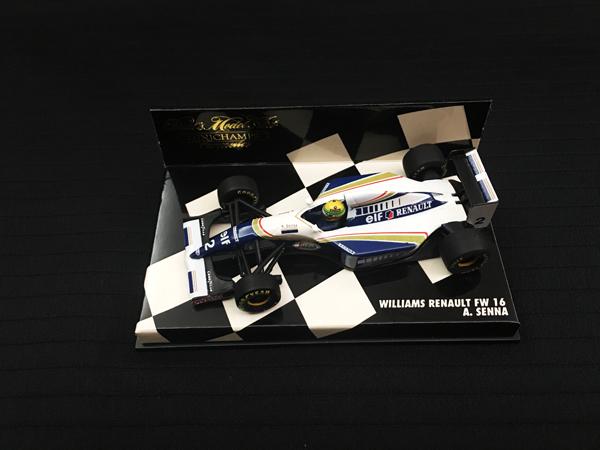 ミニチャンプス 1/43 ウィリアムズ FW16 A.セナ チェッカーボックス 背面ミニチャンプス金文字 ヘルメット濃黄色