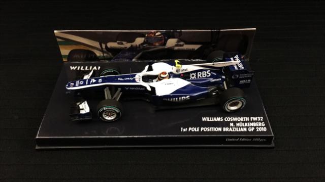 【絶版】ミニチャンプス 1/43 ウィリアムズFW32 N.ヒュルケンベルグ 2010年ブラジルGP1stPolePosition No.10