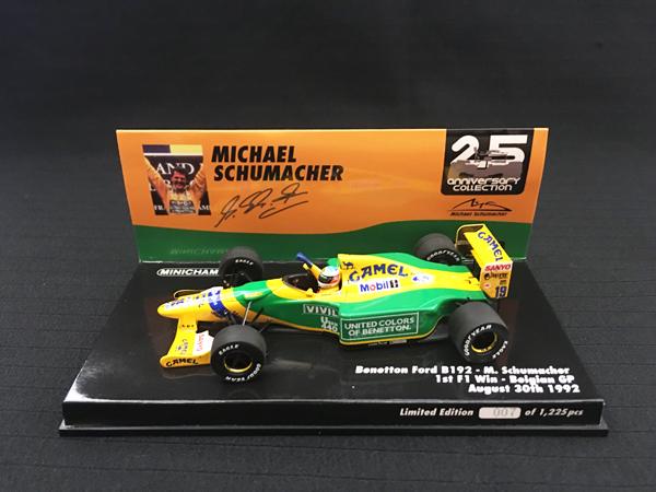 【再入荷】ミニチャンプス1/43 ベネトン B192 M.シューマッハー 1992年ベルギーGPF1初優勝レース 当店オリジナルタバコロゴモデル