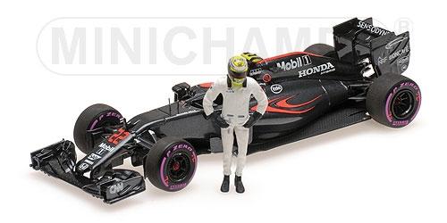 ミニチャンプス 1/43 マクラーレン ホンダ MP4-31 J.バトン アブダビGP 引退レース 2016年フィギュア付き
