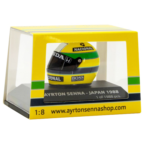 セナ1988MP4/4コレクショ ミニチャンプス 1/8 A.セナ ヘルメット 1988年日本GP(タバコデカール付)