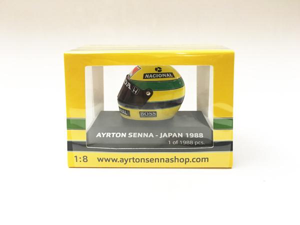 セナ1988MP4/4コレクション ミニチャンプス 1/8 A.セナ ヘルメット 1988年日本GP 当店オリジナルタバコロゴモデル