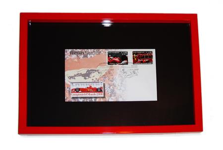 イタリア・サンマリノ共和国発行 フェラーリ F1-2000 (額装品)   ドライバーズ&コンストラクターズ Wチャンピオン記念切手セット