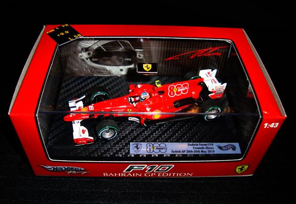 即納品:マテル 1/43 フェラーリF10 F.アロンソ 当店オリジナル トルコGP800戦記念 エアロカスタム仕様