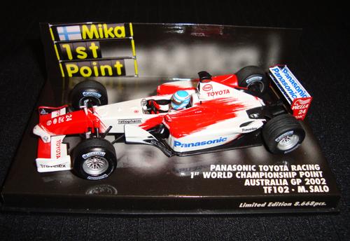 ミニチャンプス 1/43 TOYOTA(トヨタ) TF102 M.サロ 2002年オーストラリアGP 1STポイント