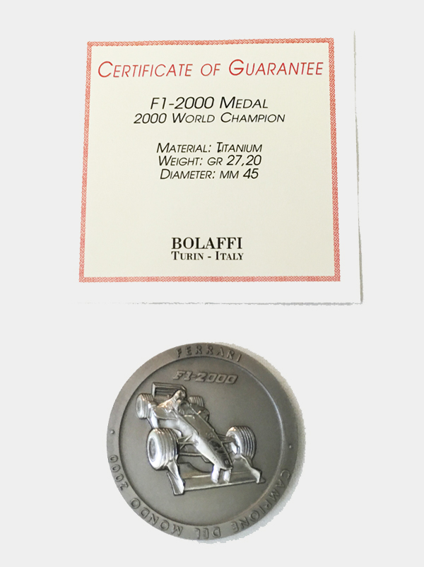 【SALE】BOLAFFI社製 2000年 フェラーリ F1-2000 ワールドチャンピオン記念 チタンメダル