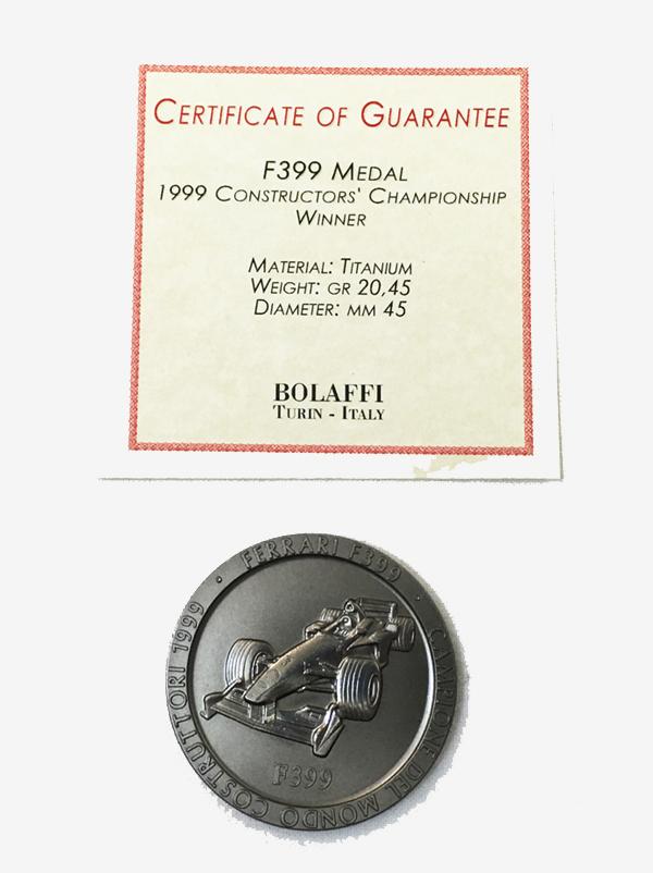 【サマーSALE】BOLAFFI社製 1999年 フェラーリ F399 コンストラクターズチャンピオン記念 チタンメダル