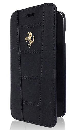 """フェラーリiPhone6/6SPlus(5.5inch)カバー """"Ferrari 458 Leather Booktype Case Black  """""""
